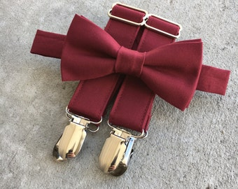 Burgundy/ Red Wine bow tie and suspender Set Sent 3-5 business days after you order