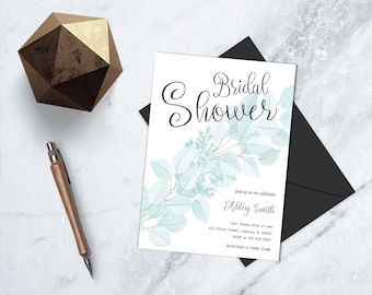 Floral Bridal DIY Printable Invite, Floral Wedding Shower Printable Invite, Garden Theme DIY Bridal Shower, Botanical Bridal Party Invite