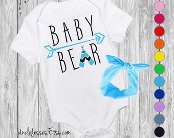 Baby Bear Baby Bodysuit with Matching Headband Option