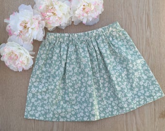 Teal floral cotton skirt size 5T