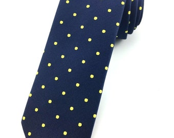 Navy Blue Yellow Polka Dot pattern tie 6.5 cm Skinny tie. Slim Tie. Narrow Thin Tie. Skinny Tie. Formal Necktie. Polkadot ties. Skinny tie
