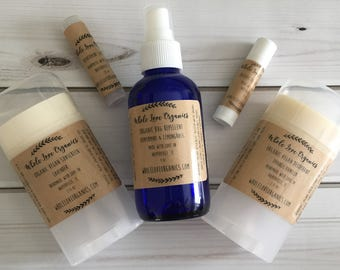 Summer Essentials - Organic Vegan Deodorant - Organic Sunscreen - Sunblock - Natural Bug Repellent - Organic Bug Spray - Bug Bite Balm