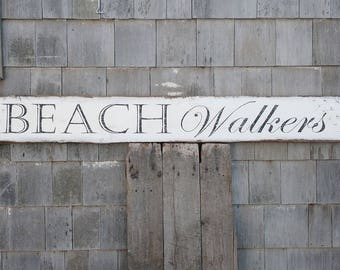 BEACH WALKERS sign with sand piper tracks hand-painted on reclaimed barnwood - Made 2 Order