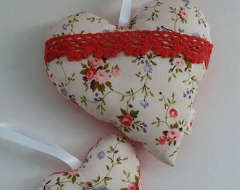 Hanging fabric hearts
