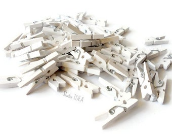 Set of 12 White Mini Clothespins- Favor Tags, Gift Tags Clothespin - Set of 12 pcs