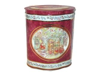 Vintage Tin, Rabbit Tin, Home Decor, Storage Tin, Collectible Tin, Holiday Tin, Christmas Tin, Bunny Tin, Holiday Home Decor, Storage Decor