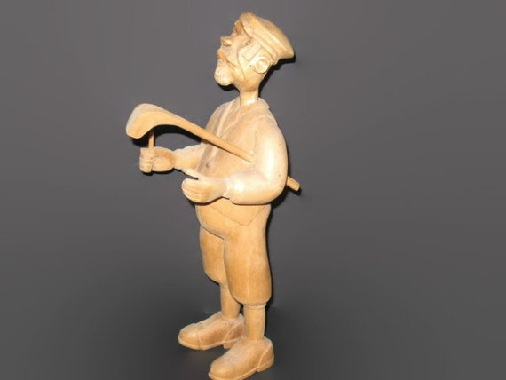 Vintage Wooden Golfer Figurine Home Decor Man Cave Decor