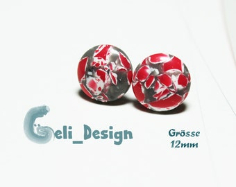 Earrings cabochon red white marbled
