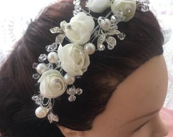 Rose Flower Bulb Crystal Diamante Hair Comb Clip Pin Wedding Prom