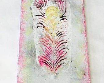 Pink and Yellow Feather Wall Hanging
