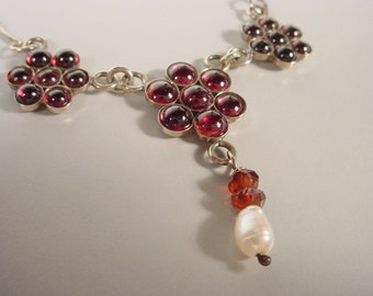 Garnet Triple Pendant Necklace with Faceted Garnet Beads and Pearl Sterling Silver