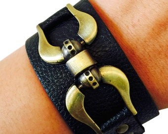 Fitbit Bracelet for Fitbit Flex and Flex 2 Fitness Activity Trackers - The EVIE Black & Gold Vegan Leather Gold Buckle Bracelet - SHIPS FREE