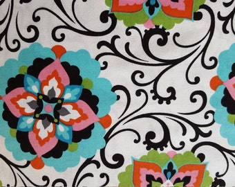 Floral Cotton Fabric Pink Blue Black Swirl Brother Sister Design Studios RARE Hard to Find