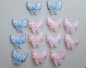 Pink Butterfly Applique Blue Butterfly Applique Butterfly Iron On Sequins Pink Blue Half Embroidered