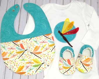 Dragonfly Baby Gift Set, Soft Sole Baby Shoes, Baby Shower Gift, baby girl outfit, baby girl gift, dragonfly baby shoes, dragonfly bodysuit