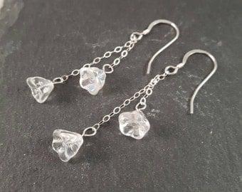 Sterling Silver Flower Earrings - garden jewellery - flower jewellery - unusual jewellery - bridesmaid jewellery - dangle earrings