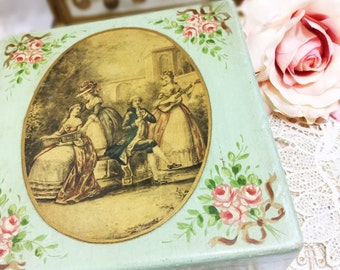 Victorian Scenic Gift Box, Jewlery Box, Trinket Box, Victorian Box, Shabby Chic Tea Caddy, Victorian Box, Birthday, Wedding, Gift #871