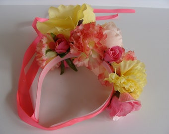 Pink and Yellow Dog Flower Crown - Just Dog Gone Cute Flower Power Headband READY TO SHIP!
