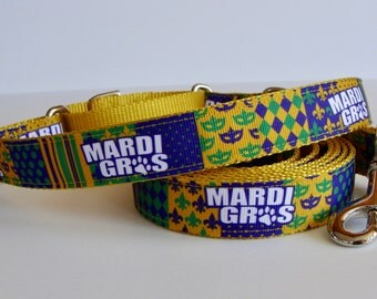 Mardi Gras Martingale Dog Collar Yellow with Paw Print - Ready to Ship!