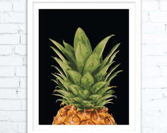 Pineapple Decor, Pineapple Wall Art, Pineapple Art, Pineapple Printable, Tropical Print, TropicalArt, Tropical Decor, Tropical Gift