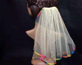 Rainbow wedding veil