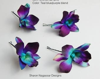 Set of 4, HAIR / BOBBY PINS, clip, Dendrobium orchid, blue, Galaxy, orchids, purple, aqua, ivory, turquoise, teal, Real Touch flowers, Silk