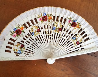 Hand painted wooden fan in white