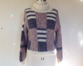 SALE 1980s Colorblocked mohair sweater