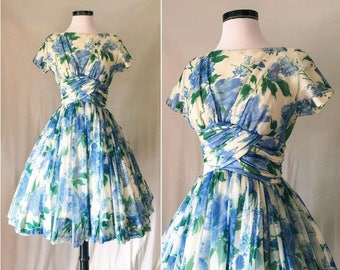 1950s New Look Chiffon Dress  // 50s GiGi Young Dress // Blue Green Ruched Impressionist Watercolor Floral Print Organza Party Prom Dress