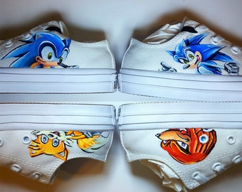 Hand Painted Sonic the Hedgehog Little Kid's Sneakers