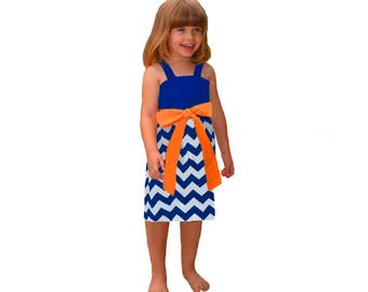Orange + Blue Chevron Game Day Dress- Girls