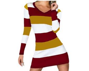 Deep Red + Gold Stripe Spirit Dress
