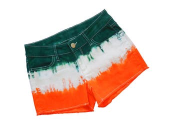 Orange + Green Tie-Dye Shorts