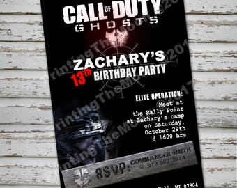 CALL of DUTY-GHOSTS- Invitation- Call Of Duty-Ghosts party, Call of Duty party's decoration, Action, War party, Video Games, BlackOps Ghosts