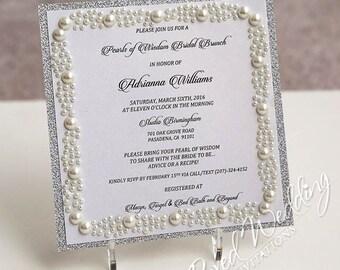 Bridal Shower Invitation Card/ Bridal shower/ Save the date invitation/ Silver Invitation/ Engagement Invitation /Wedding invitation