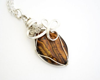 tiger eye pendant, tiger eye necklace, wire wrap tiger eye, wire wrap and tiger eye, wire wrap, tiger eye, tiger eye wire wrap