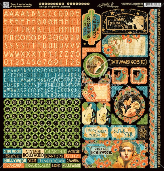 NEW! Graphic 45 Vintage Hollywood Stickers, SC007711