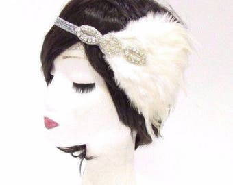 Silver Ivory White Feather Headband 1920s Flapper Headpiece Great Gatsby 2786