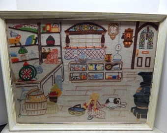 Old Country Store Finished Crewel Embroidery Stitchery Picture Framed with Glass  Frame Size 20 x 26 FIBER ART