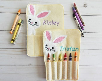 Personalized toys for kids - Personalized Easter bunny - Personalized Easter gift for kids - crayon roll - crayon holder - Easter toys
