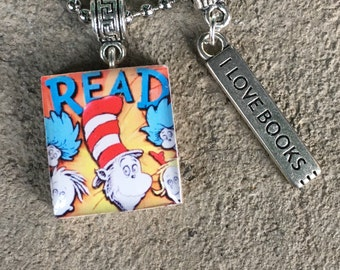 Dr. Seuss Jewelry, Cat in the Hat, Dr. Seuss, Librarian Jewelry, Teacher Gift, Reading Necklace