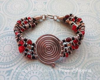 Vintage Spiral Disc Bracelet - Beaded Bracelet - Shipping Included!