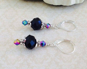 Vintage Style Earrings Black Glass Crystal Beaded Dangle Earrings Silver Flower Antique Inspired Jewelry Hand Crafted UK Shop