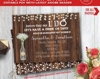 Before they say I do Invitation wood rustic I do couples shower engagement rehearsal dinner YOU EDIT text and print yourself invite 14113