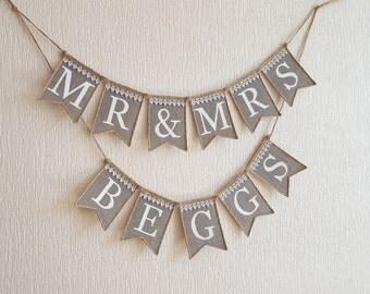 mr and mrs wedding banner, mr and mrs banner,  MR & MRS burlap banner, mr and mrs  rustic Wedding banner, rustic wedding, mr and mrs sign
