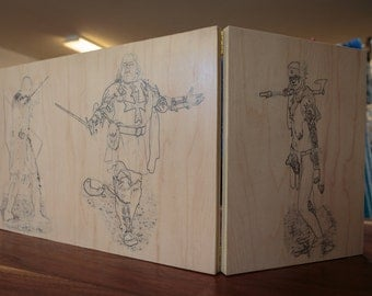 Dungeons and Dragons Dungeon Master Screen with custom art (wood transfer)