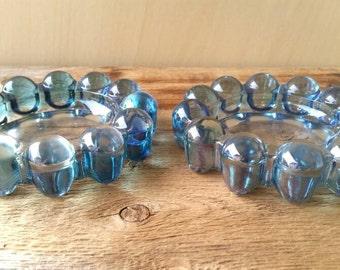 NOVA Bubble Glass Boopie Blue Ashtrays set of 2 by Anchor Hocking Vintage 70s Nesting Retro Decor