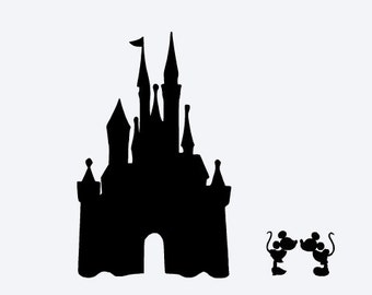 SVG, disney, disney castle, kissing mickey and minnie, disney vacation,  silhouette,  cut file, cricut, silhouette, instant download