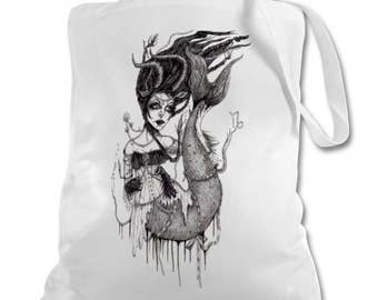Capricorn Gothic mermaid zodiac Victorian Horoscope tote bag