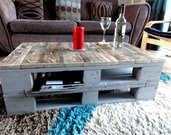 Pallet Coffee Table, Rustic, Industrial Reclaimed Wood, Upcycled Solid Wood